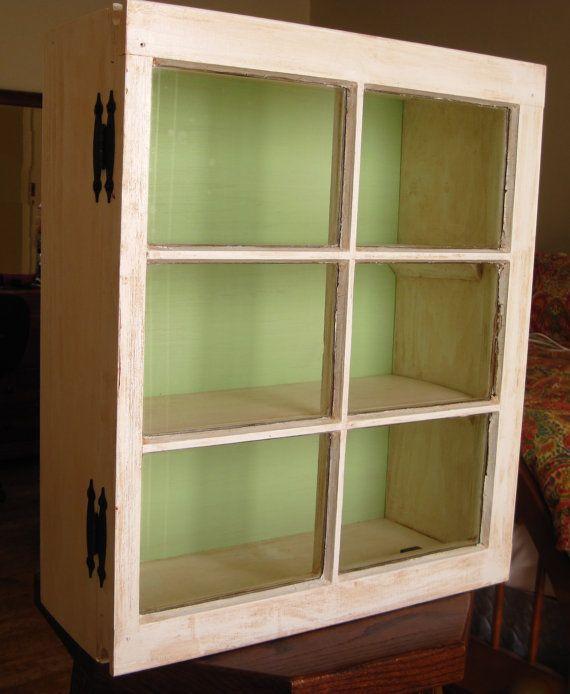 Nice Custom Made Antiqued Window Cabinet
