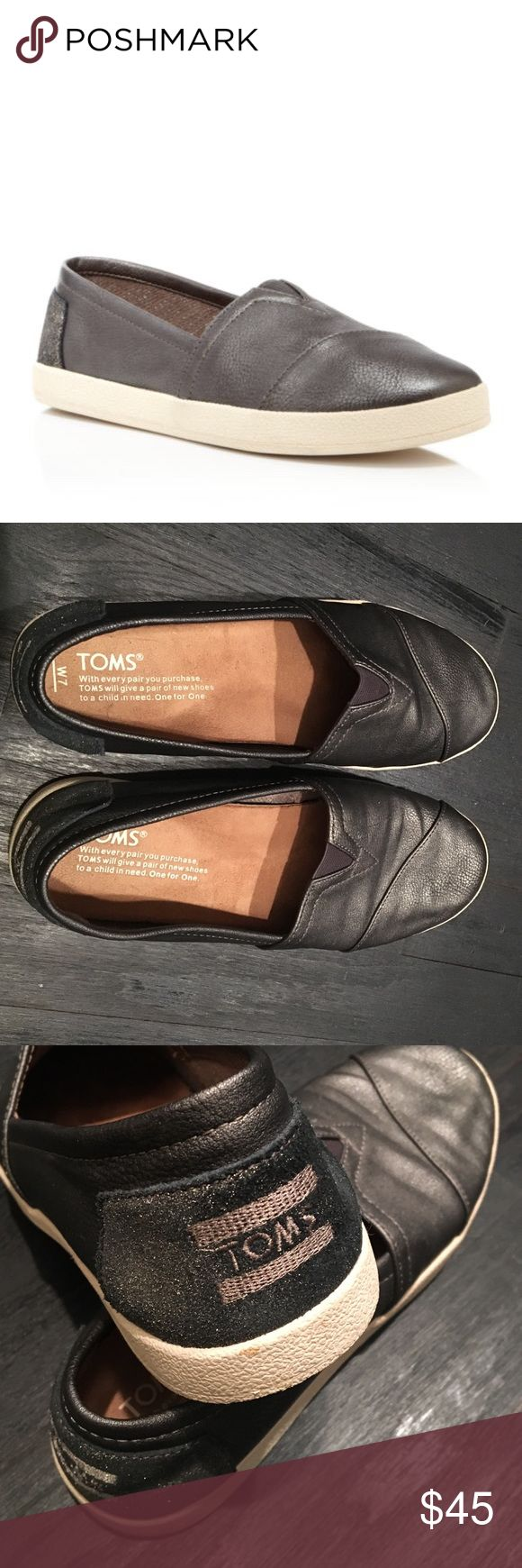 Toms avalon metallic sneaker Toms avalon metallic gunmetal color sneaker. Size 7. Worn a few times. Perfect condition! TOMS Shoes Athletic Shoes