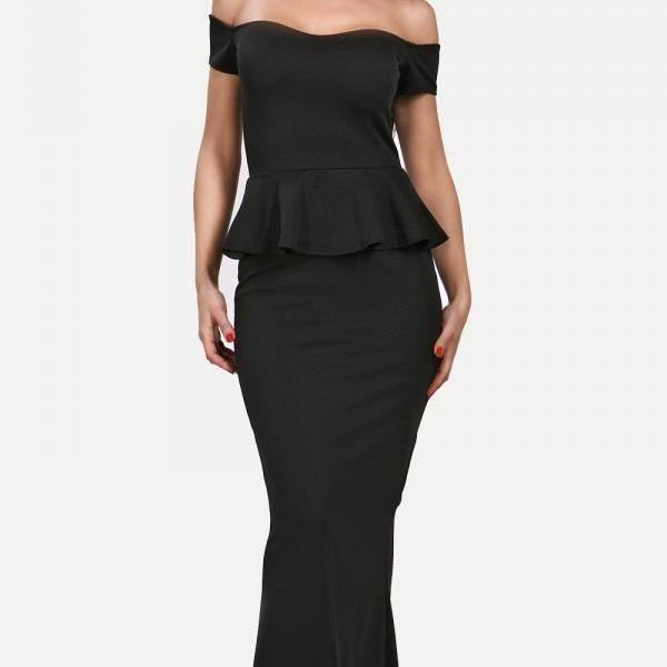 Black Peplum Maxi Dress