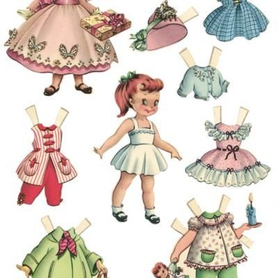 Vintage Paper Dolls {For the kids} print and use sticky magnet sheets to make magnetic paper dolls!