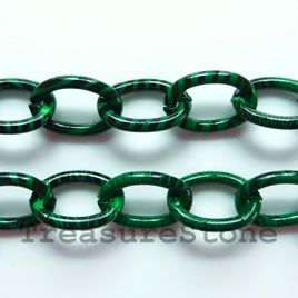 Chain, aluminum, green patterned,12x17mm curb - By meter