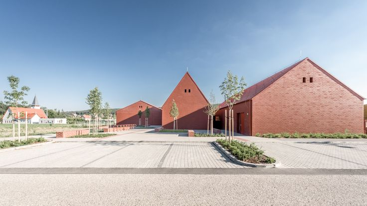 """Daycare in Nagykovácsi by Földes Architects  """"The building made up of smaller annexes creates an environment similar to a small town."""" """"A több kis egyszerű tömegből alkotott épület olyan hatást kelt, mint egy kisváros."""" #foldesarchitects #daycare #nursery #hungary #architecture #brick #nagykovacsi #bölcsöde #óvoda #építészet #üveg #tégla"""