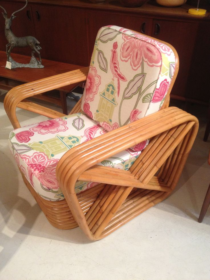 Hollywood Cane Rattan Bamboo Chair In Warwick Fabrics By
