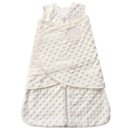 The Plush Dot Velboa SleepSack Swaddle from HALO is a super soft wearable blanket that keeps baby sleeping safe and sound.
