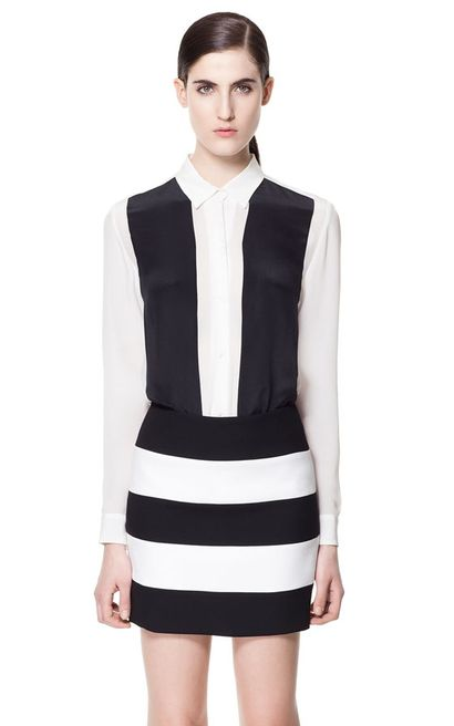 Biało-czarna koszula z łączonych materiałów - Zara