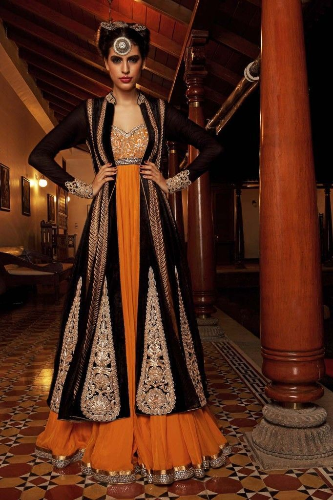 anarkali. indian fashion. nivedita saboo. black. embroidery.