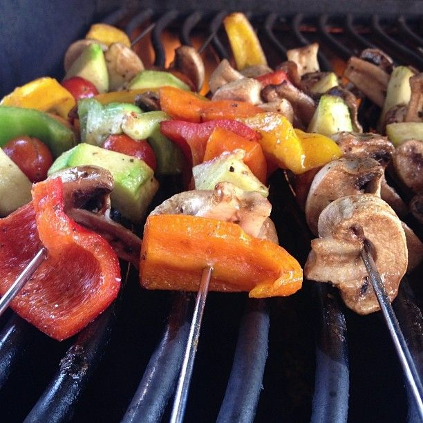 Pin for Later: Grilled Veggie Recipes Even Burger-Lovers Will Crave Colorful Skewers Slice veggies, poke them onto reusable metal skewers, and you can eat straight off the stick.