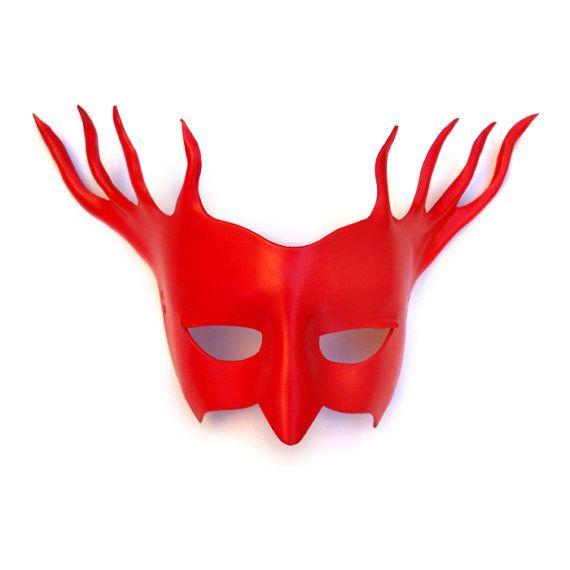 Satan Red Leather Mask Burning Man Reindeer Demon by LMEmasks