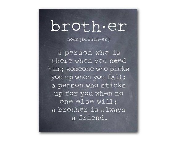 Wall Art - A brother is a person - Brother Quote - Inspiration - Typography Art Print - Room decor - Brother Gift - Boys Room Wall Art on Etsy, $14.00