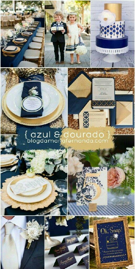 Paleta de cores azul e dourado.  Veja mais aqui https://www.casamentos.com.br/comunidade