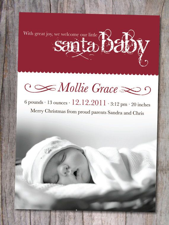 holiday birth announcement elegant by xsimplymoderndesignx on etsy maybe one day pinterest holiday births and etsy
