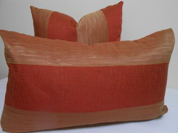 Striped Terracotta and Gold Lumbar Pillow Cover by ZourraDesigns