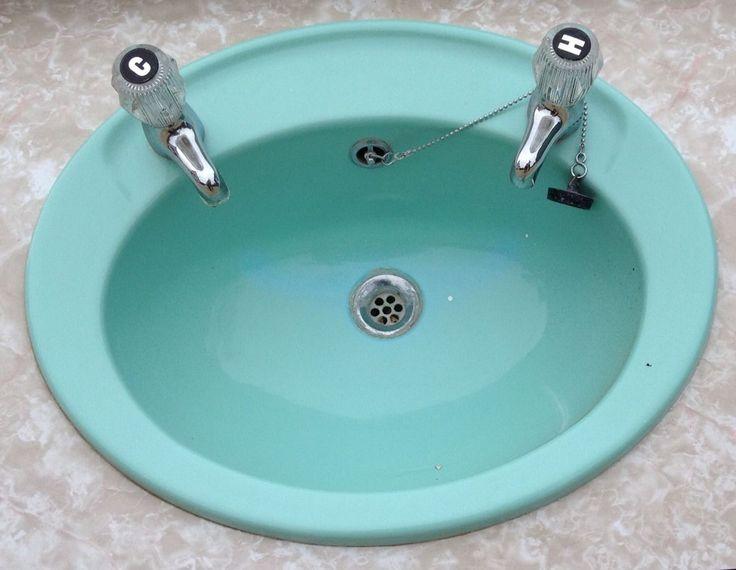 Vintage Fibreglass Aqua Blue Sink