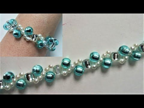 Beading tutorials for beginners. How to make a bracelet using pony beads and pearl beads - YouTube