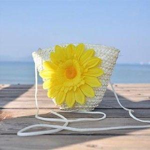 Floral Straw Crossbody Bag