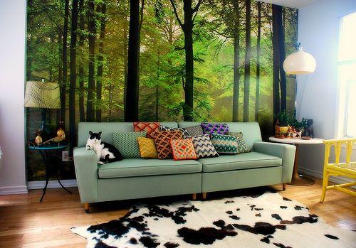 Mural: Modernretro, Forests, Living Rooms Color, Wall Murals, Interiors Design, Retro Home Decor, Retro Interiors, Studios Couch, Modern Retro