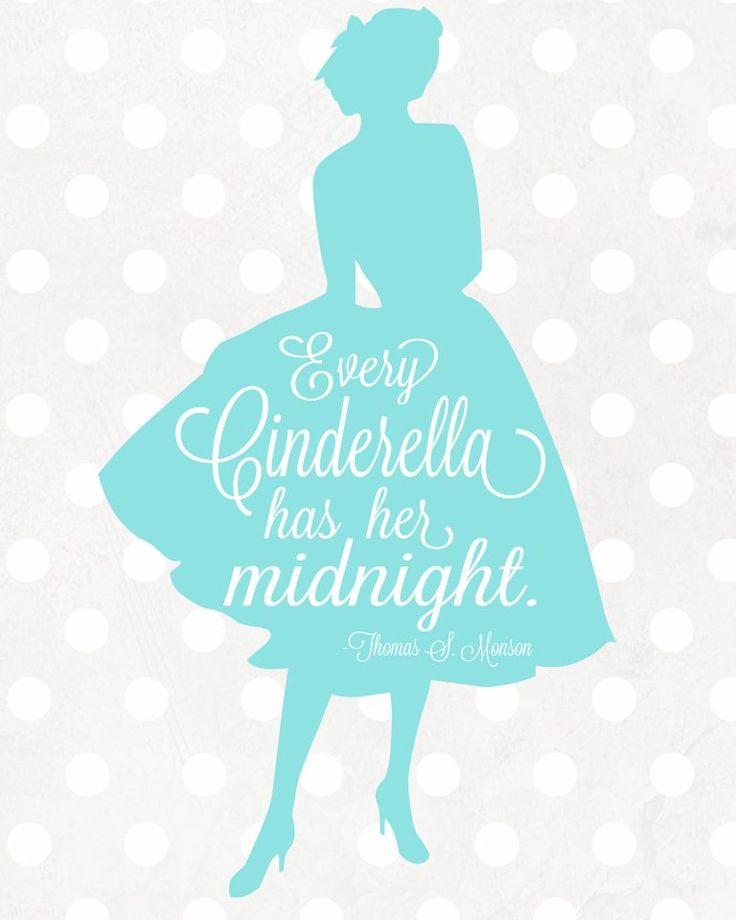 "Free Cinderella Printable via Lolly Jane   ""Every Cinderella has her midnight"""