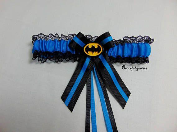 satinLaceSparkle Handmade Blue Sparkle Bat man keepsake Bridal Wedding Garter