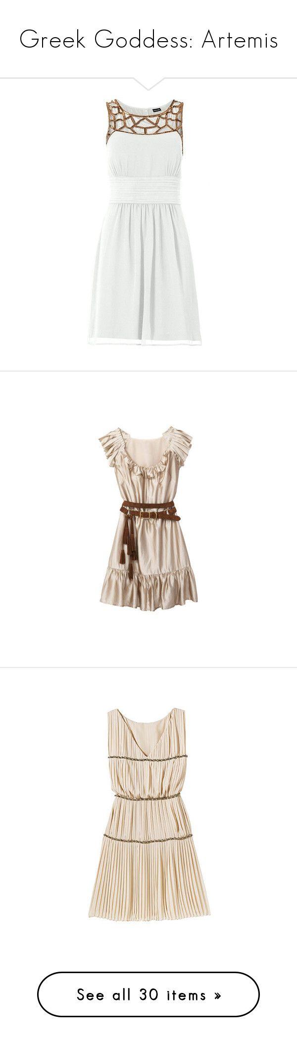 """Greek Goddess: Artemis"" by storycosmicjasmine ❤ liked on Polyvore featuring dresses, vestidos, robes, white dress, white day dress, short dresses, tops, haljine, alberta ferretti and silk dress"
