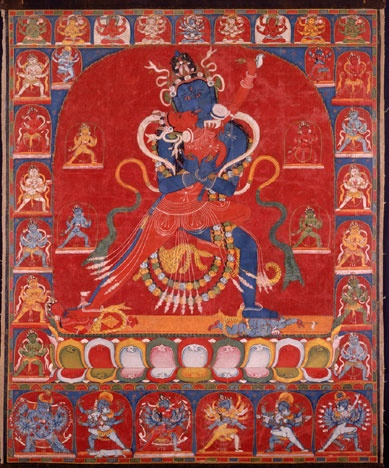 """81 Blue Innate (Sahaja) Chakrasamvara and Vajravarahi, between 1975 and 1125, central Tibet, Opaque watercolor on cotton cloth. This is a private collection, Switzerland. the word sahaja means born together. It means Chakrasamvara and Vajravarahi are nondual. """"Bule Chakrasamvara embraces Vajravarahi, as she bears the flaying knife and skullcup. The two registers represent the male and female Armor Deities."""" They protect and prepare practitioner's body to effectively complete powerful…"""