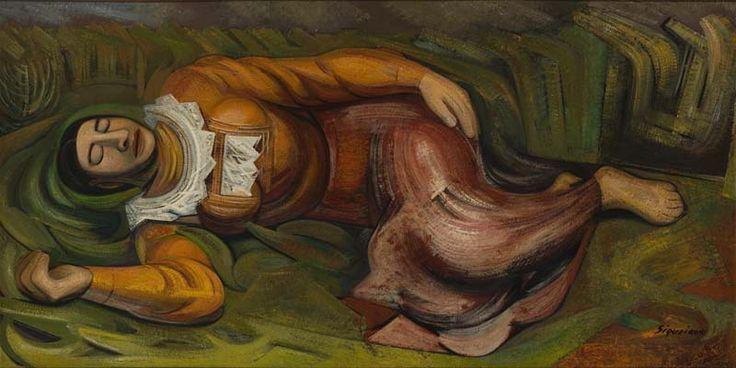 MUJER DORMIDA (LA PRIMAVERA)  Aquí se muestra una mujer dormida con una expresión libre, con derecho de poder descansar. En el fondo se muestra como un pasto verde el cual parece una manta para la señora que está dormida y en la parte superior izquierda se muestra un pueblo.
