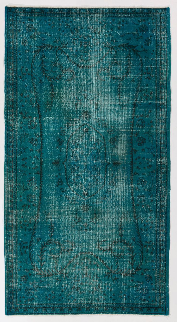 "3'5"" x 6' (105 x 186 cm) Turkish Overdyed Rug, Turquoise Blue by Zorlus on Etsy"