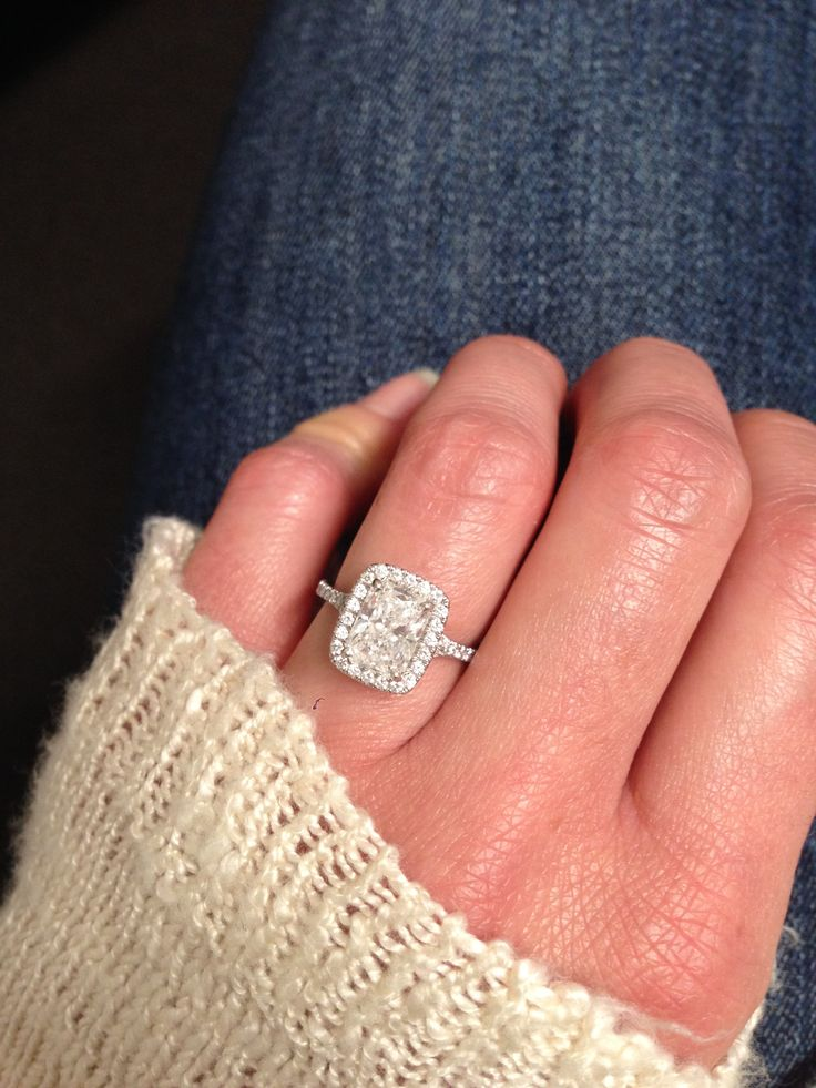 Perfection.  Radiant cut engagement ring. Halo cushion setting. ❤️