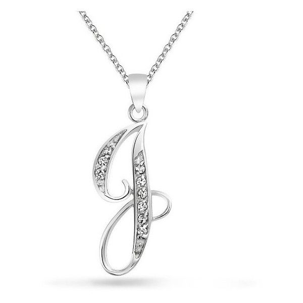 Bling Jewelry 925 Silver CZ Cursive Initial Letter J Alphabet Necklace... ($31) ❤ liked on Polyvore featuring jewelry, necklaces, clear, silver charms, silver initial pendant, cubic zirconia necklaces, letter pendant necklace and initial pendant necklace