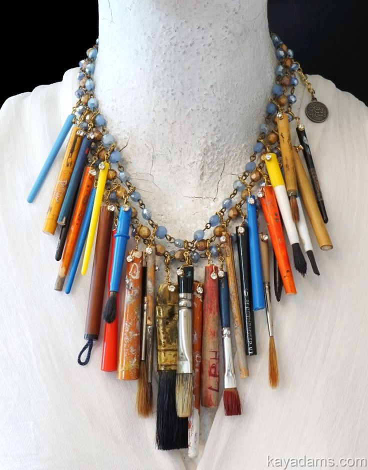 L6876 [L6876] - $445.00 : Kay Adams, Anthill Antiques, Jewelry and Chandelier Heaven. where'z all my artists at?  paintbrush necklace. upcycled at its finest!  jewelry for the painter ~~ #gottagettakay