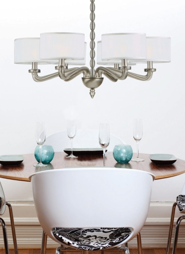 Small Dining Room With Satin Nickel Shaded Chandelier
