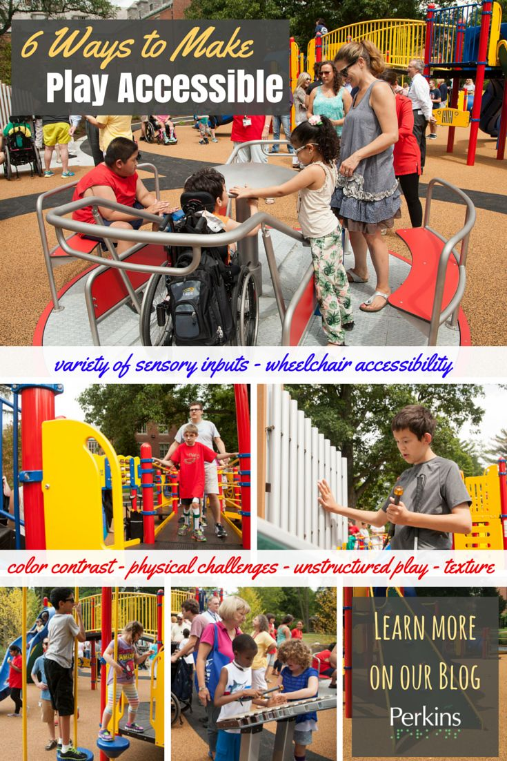 Physical Therapists rejoice! Building an accessible playground requires more than just handicapped ramps. Here are six features of the new Bradlee Park playground that make it accessible to kids with a wide range of disabilities. *Pinned by Perkins.org