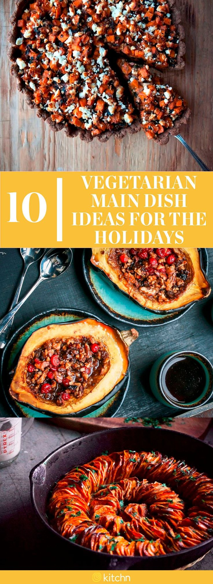 10 Vegetarian Main Dish Ideas and Recipes for Thanksgiving or Christmas. Who needs a turkey or a ham when you have veggies? These easy recipes are true crowd pleasers all fall and winter long.
