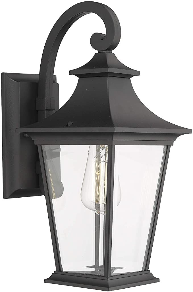 Emliviar Outdoor Wall Lantern 1 Light Exterior Wall Mount Light With Clear Glass In Black Finish 18 Hei Outdoor Wall Lantern Wall Mounted Light Wall Lantern