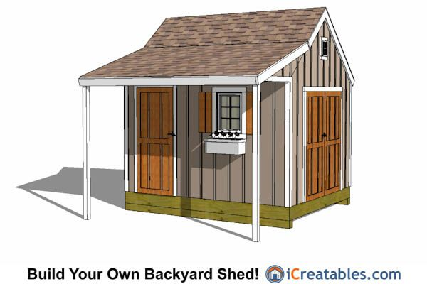 10x12 colonial shed plans with covered porch 10x12 shed for Colonial shed plans