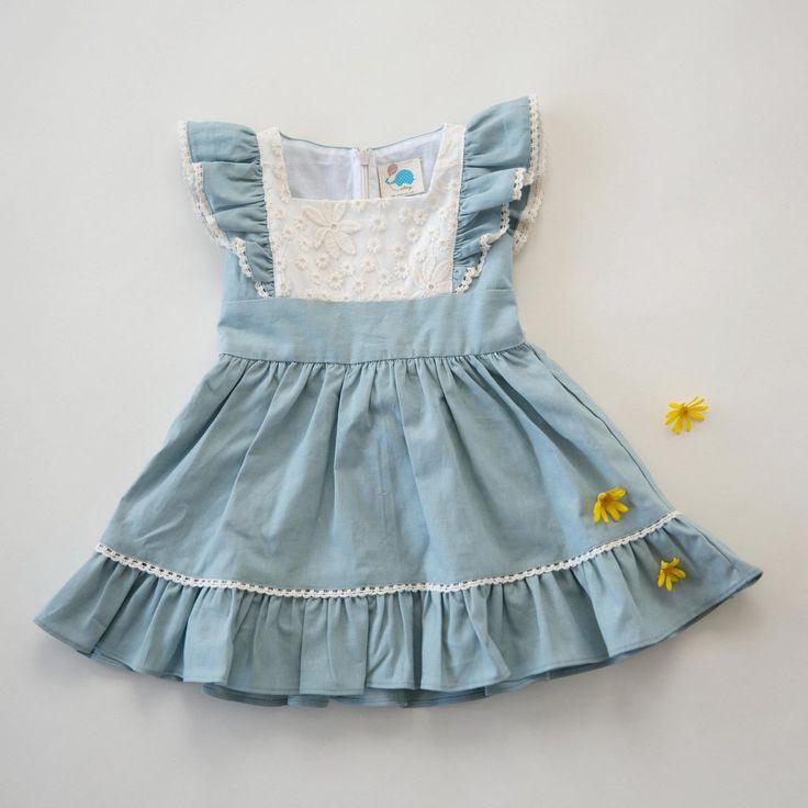 Flutter Dress - Alice Blue Linen