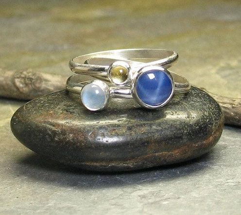 Sterling Silver Stacking Rings, Blue and Yellow Sapphires, with Moonstone - Sun, Moon & Stars II.    ...from LavenderCottage on Etsy