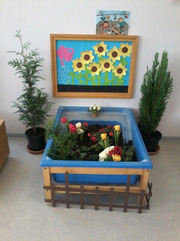 Binnentuintje kinderdagverblijf thema bloemen in de tuin