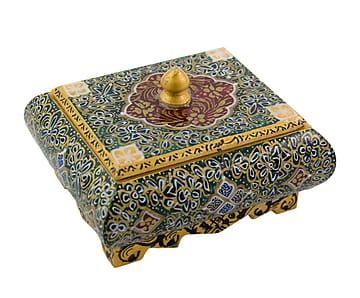 Caja persa en miniatura de hueso de camello pintada a mano Mei-Fen