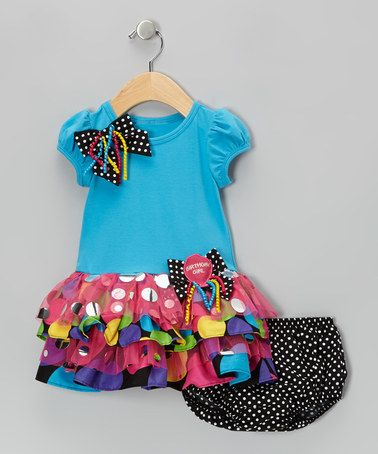 Take a look at this Turquoise Bow Dress & Diaper Cover - Infant, Toddler & Girls by Gerson & Gerson on #zulily today!