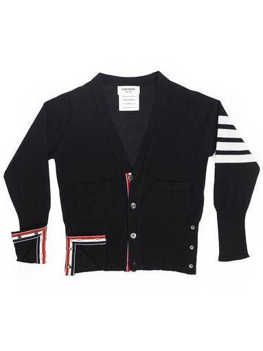Thom Browne CLASSIC CARDIGAN. Navy 100% Cashmere with 4 White University Stripes on Sleeve RWB Grosgrain Trim on Placket / Side Vents and Sleeve Cuffs, Grey Pearl Buttons