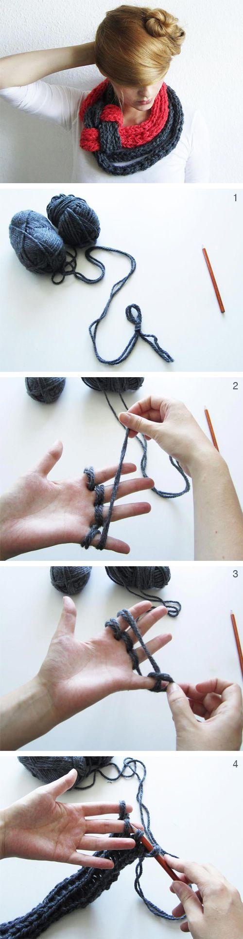 DIY Strickanleitung: Durch Fingerstricken einen Schal kreieren // diy tutorial: how to fingerknit a scarf via DaWanda.com