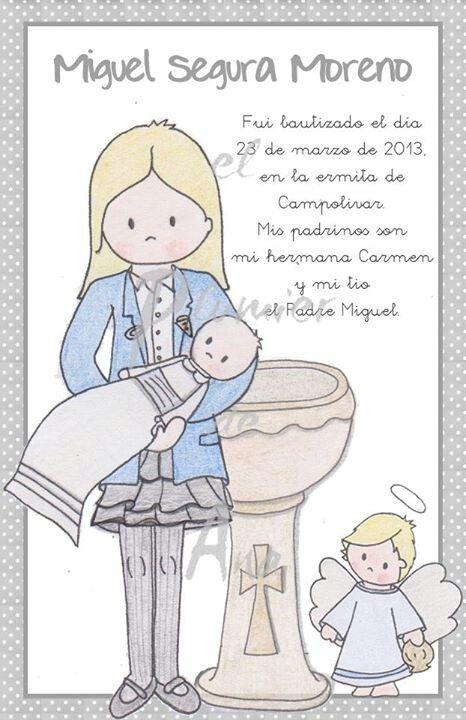Carmen es la madrina de Miguel y me encargó que les dibujara juntos para no olvidar nunca este día.