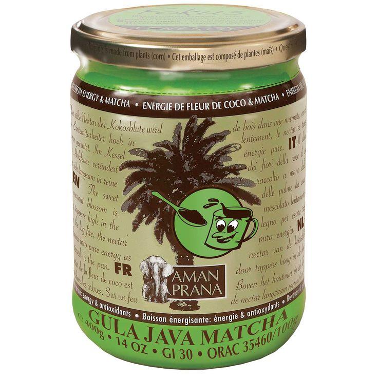 Amanprana Gula Java Matcha + Vit D | Biologisch drank met gemalen kokosbloesemsuiker, groene thee en vitamine D.