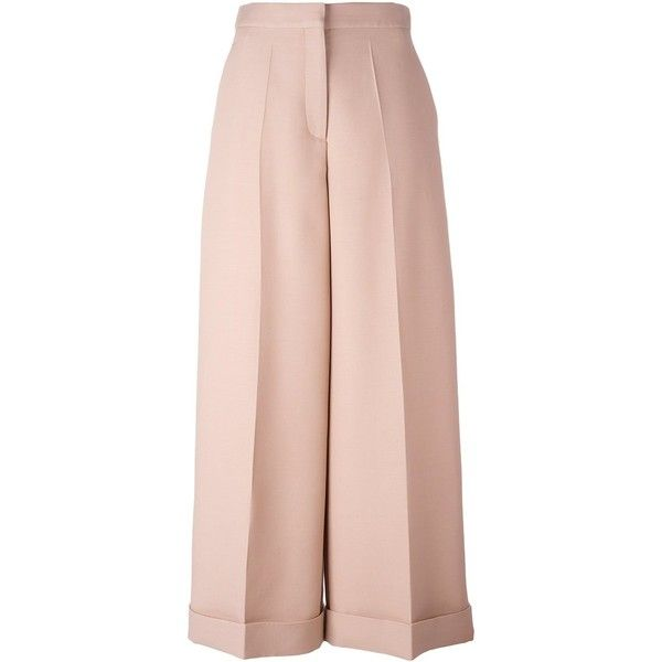 Valentino high-waisted palazzo pants (€1.190) ❤ liked on Polyvore featuring pants, high-waisted pants, high-waist trousers, cuffed pants, high waisted trousers and high waist stretch pants