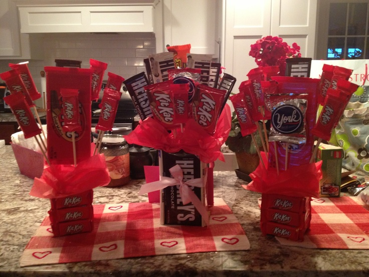 Chocolate Bouquets For My Sweets Just Use Flower Arrangement Foam Hot Glue Candy Bars
