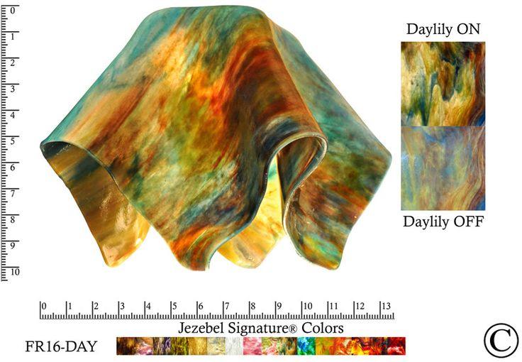 "Jezebel Signature® Large Flame Daylily Glass Pendant Replacement Glass Shade, 1 5/8"" hole"