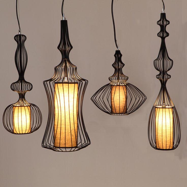 Black White Fabric Metal Iron Loft Modern Pendant Lamps Design Denmark Rustic Lighting For Dining Living Room