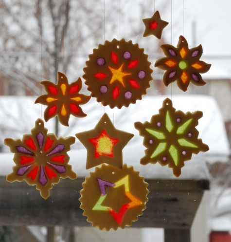 Stained glass cookies, Christmas, ornament