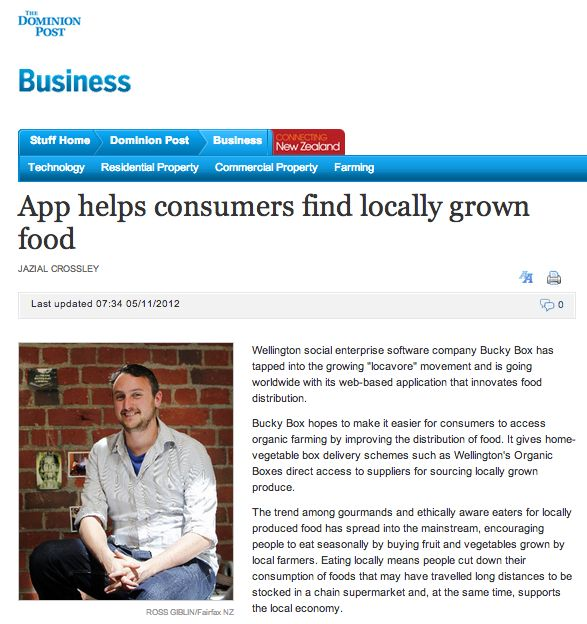 The Dominion Post & Stuff.co.nz Tech features Bucky Box - App helps consumers find locally grown food