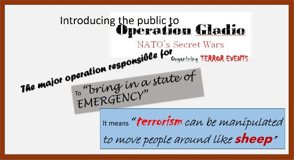 "Gladio smaller Top US Officials Reveal ""White House is Behind The Terrorism of Their Population"" According to RT, there has been a new analysis of 9/11 and it has been determined it was an ""inside job"".  The report also claims several top US officials within the government, including CIA officials have gone on the record stating  ""the White House is behind the terrorism of their population.""  Gladio smaller"